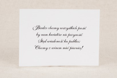 Bilecik do zaproszenia ślubnego z kolekcji Klaris nr 4