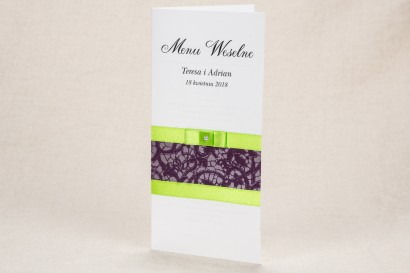 Menu ślubne - Klasyczny wzór z elegancką fioletową koronką i kontrastującą zieloną kokardką - Klaris nr 1