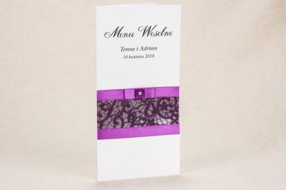 Menu ślubne - Elegancki wzór z piękną, fioletową koronką - Klaris nr 3