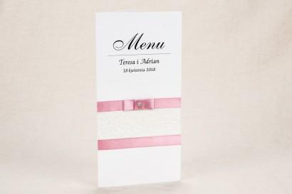 Menu ślubne - Klasyczny, biały wzór z elegancką koronką i akcentem jasnego różu - Klaris nr 4
