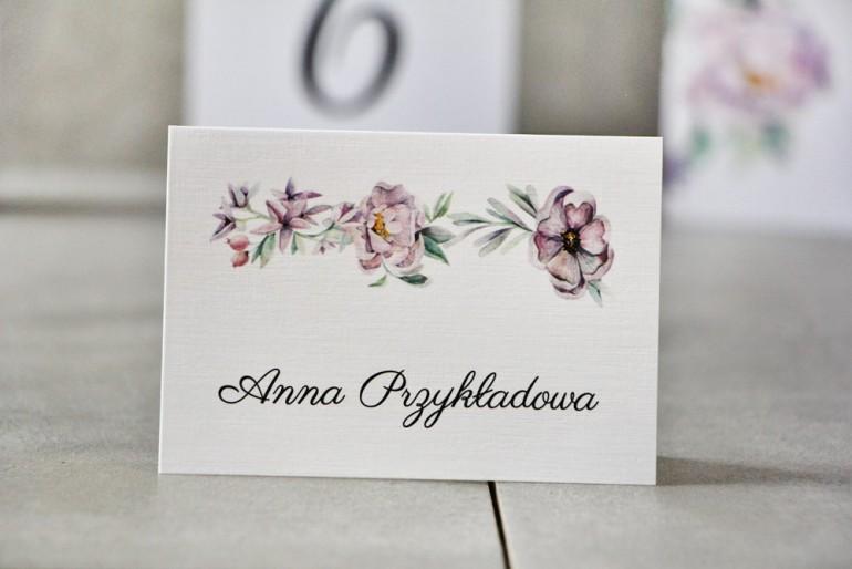 Winietki na stół weselny, ślub - Pistacjowe nr 15 - Delikatne pastelowe fioletowe kwiaty