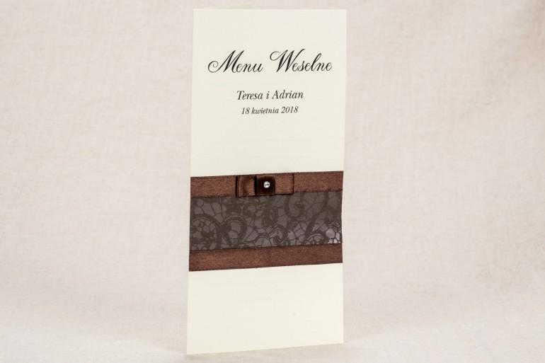 Menu ślubne - Klasyczny wzór z elegancką, brązową koronką  z delikatną kokardką - Klaris nr 6
