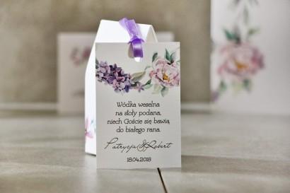 Zawieszka na butelkę, Wódka weselna, ślub - Pistacjowe nr 15 - Pastelowe fioletowe kwiaty