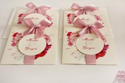 Różowe zaproszenia ślubne z różowymi, białymi i amarantowymi piwoniami - Akwarele nr 25