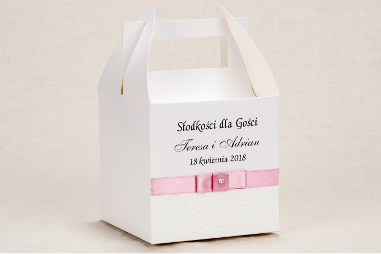 Ślubne Pudełko na Ciasto weselne - Klasyczny, biały wzór z elegancką białą koronką i akcentem jasnego różu