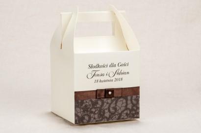 Ślubne Pudełko na Ciasto weselne - Klasyczny wzór z brązową koronką