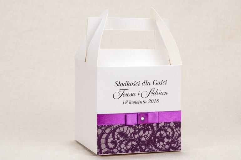 Ślubne Pudełko na Ciasto weselne - Elegancki wzór z piękną fioletową koronką