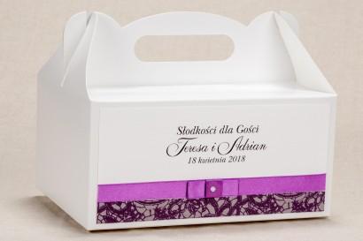 Ślubne Pudełko na Ciasto (prostokątne) weselne - Elegancki wzór z piękną fioletową koronką