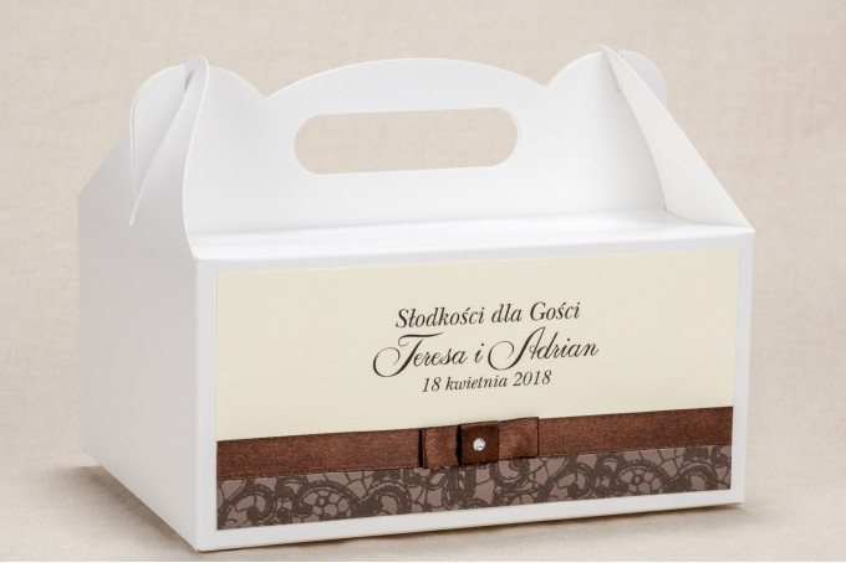 Ślubne Pudełko (prostokątne) na Ciasto weselne - Klasyczny wzór z brązową koronką