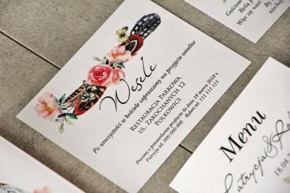 Bilecik do zaproszenia 120 x 98 mm prezenty ślubne wesele - Pistacjowe nr 16 - Wzór Boho z piórami i różowymi kwiatami