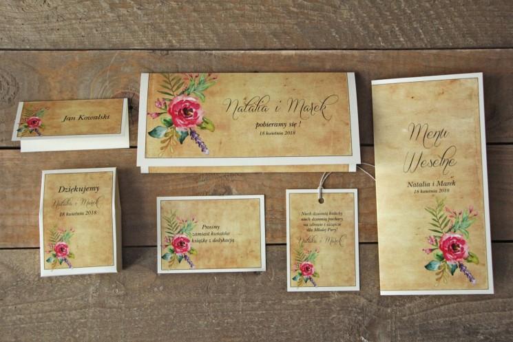 Zaproszenia ślubne rustykalne z kwiatami w stylu boho - Karmelowe nr 1 - zestaw próbny