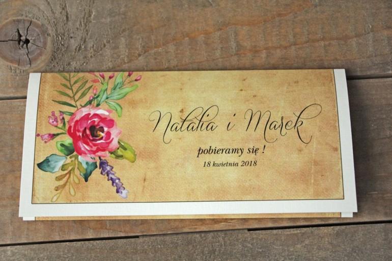 Zaproszenia ślubne rustykalne z kwiatami w stylu boho - Karmelowe nr 1