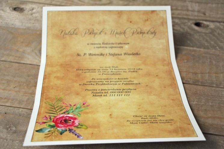 Zaproszenia ślubne rustykalne z kwiatami w stylu boho - Karmelowe nr 1 - Wnętrza zaproszenia ślubnego