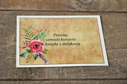 Bilecik do zaproszenia ślubnego w stylu rustykalnym z kwiatami w stylu boho - Karmelowe nr 1