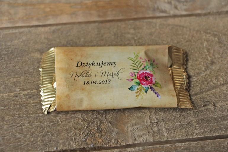 Ślubne Czekoladki w stylu rustykalnym z kwiatami w stylu boho, kolor różowy - Karmelowe nr 1