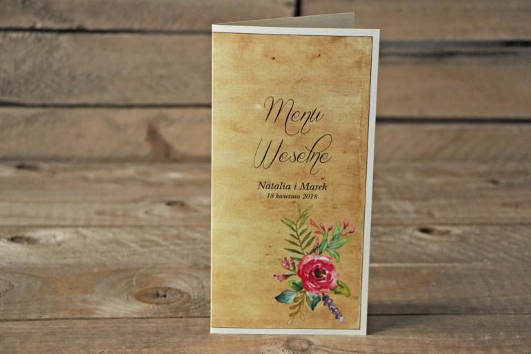 Rustykalne Menu Ślubne z kwiatami w stylu boho, kolor różowy - Karmelowe nr 1