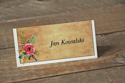 Winietki ślubne, wizytówki na stół weselny w stylu rustykalnym z kwiatami w stylu boho - Karmelowe nr 1