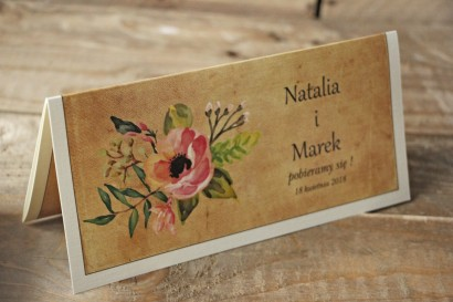 Zaproszenia ślubne rustykalne z kwiatami w stylu boho - Karmelowe nr 2