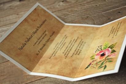Zaproszenia ślubne rustykalne z kwiatami w stylu boho - Karmelowe nr 2 - wnętrze zaproszenia ślubnego