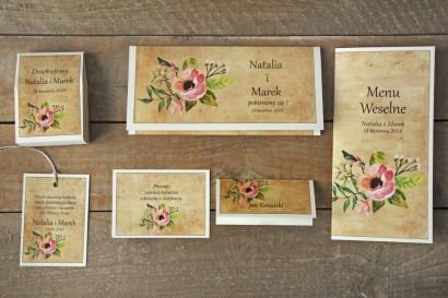 Zaproszenia ślubne rustykalne z kwiatami w stylu boho - Karmelowe nr 2 - zestaw próbny
