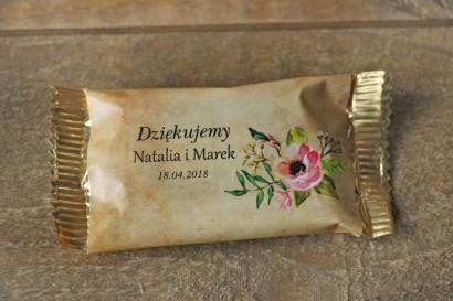 Ślubne Czekoladki w stylu rustykalnym z kwiatami w stylu boho, kolor różowy - Karmelowe nr 2