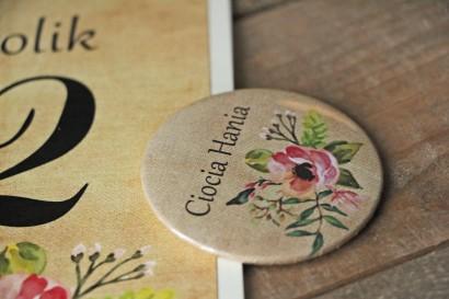 Ślubne przypinki dla gości weselnych w stylu rustykalnym z kwiatami w stylu boho, kolor jasny róż - Karmelowe nr 2