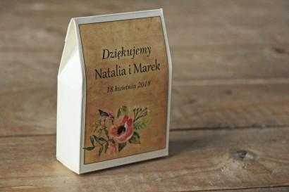 Ślubne pudełeczka na słodkości dla gości weselnych w stylu rustykalnym z kwiatami w stylu boho, kolor różowy - Karmelowe nr 2