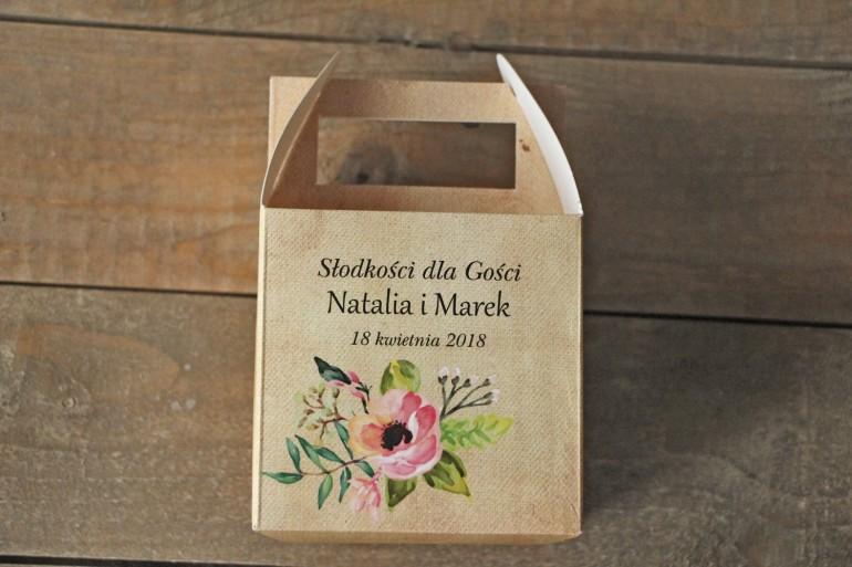 Pudełka (kwadratowe) na Ciasto weselne w stylu rustykalnym z kwiatami w stylu boho - Karmelowe nr 2