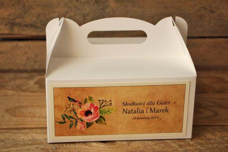 Pudełka (prostokątne) na Ciasto weselne w stylu rustykalnym z kwiatami w stylu boho - Karmelowe nr 2