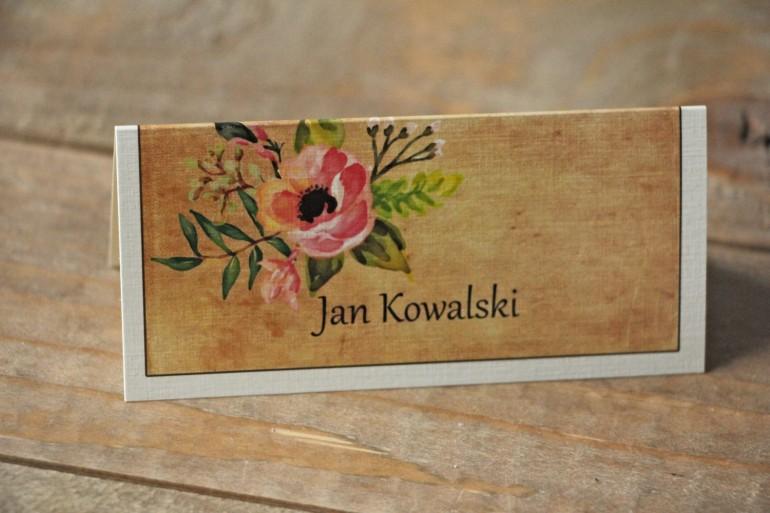 Rustykalne Winietki ślubne, wizytówki na stół weselny z kwiatami w stylu boho - Karmelowe nr 2