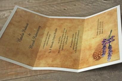 Zaproszenia ślubne rustykalne z piórkiem w stylu boho - Karmelowe nr 3 - wnętrze zaproszenia ślubnego