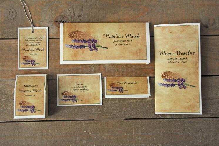 Zaproszenia ślubne rustykalne z piórkiem w stylu boho - Karmelowe nr 3 - zestaw próbny
