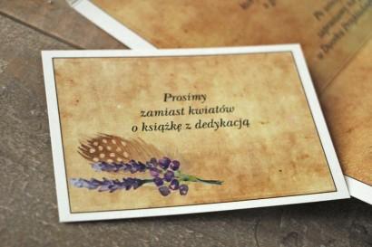 Rustykalny Bilecik do zaproszenia ślubnego z piórkiem w stylu boho - Karmelowe nr 3