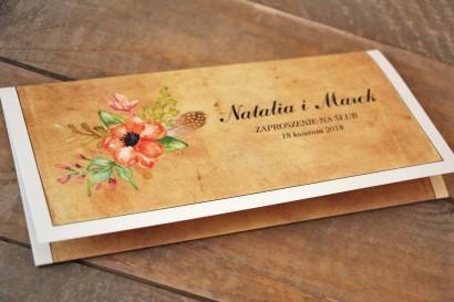 Kwiatowe, boho zaproszenia ślubne w stylistyce rustykalnej, kolor pomarańczowy - Karmelowe nr 4