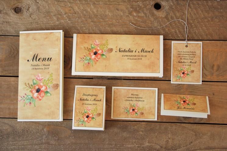 Kwiatowe, boho zaproszenia ślubne w stylistyce rustykalnej, kolor pomarańczowy - Karmelowe nr 4 - zestaw próbny