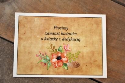 Kwiatowy, boho Bilecik do zaproszenia ślubnego w stylistyce rustykalnej - Karmelowe nr 4