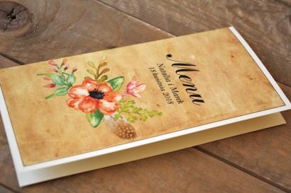 Kwiatowe, boho Menu Ślubne w stylistyce rustykalnej, kolor pomarańczowy - Karmelowe nr 4