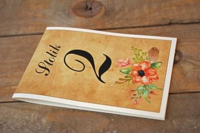 Kwiatowe, boho Ślubne numery stolików weselnych w stylistyce rustykalnej, kolor pomarańczowy - Karmelowe nr 4