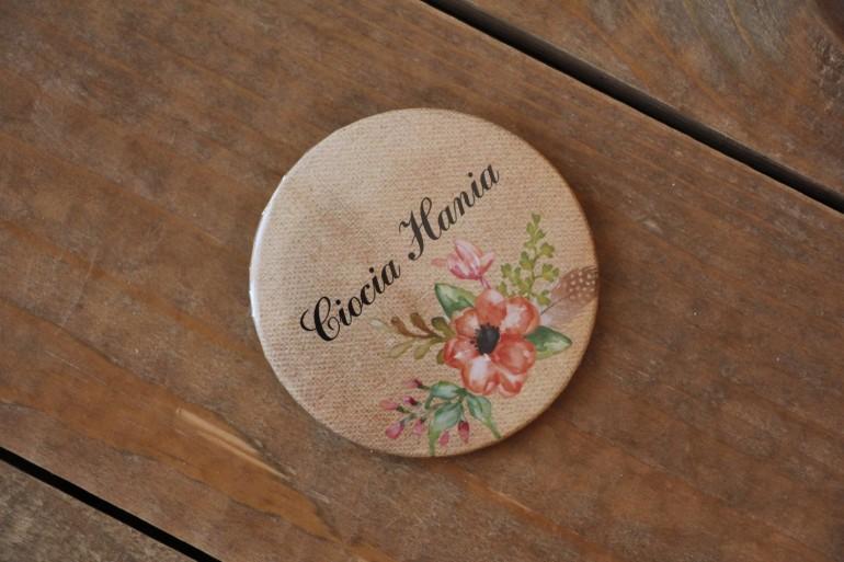 Kwiatowe, boho Ślubne przypinki dla gości weselnych w stylistyce rustykalnej, kolor pomarańczowy - Karmelowe nr 4