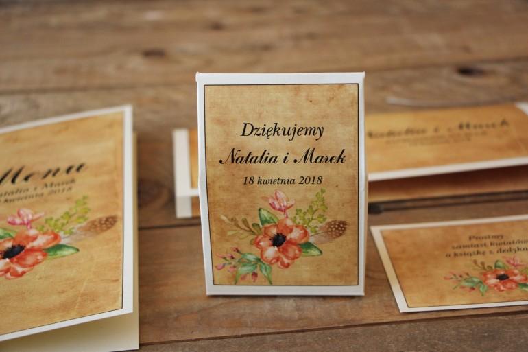 Kwiatowe, boho Ślubne pudełeczka na słodkości dla gości weselnych w stylistyce rustykalnej, kolor pomarańczowy - Karmelowe nr 4