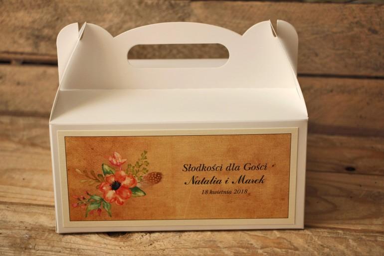 Kwiatowe, boho Pudełka (prostokątne) na Ciasto weselne w stylistyce rustykalnej, kolor pomarańczowy - Karmelowe nr 4