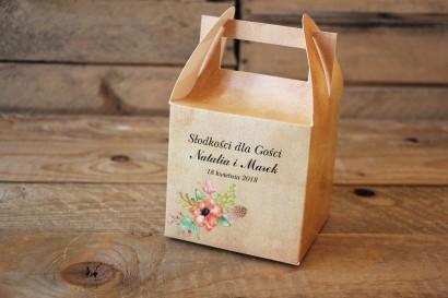 Kwiatowe, boho Pudełka (kwadratowe) na Ciasto weselne w stylistyce rustykalnej, kolor pomarańczowy - Karmelowe nr 4