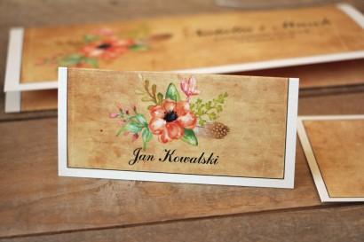 Kwiatowe, boho Winietki ślubne, wizytówki na stół weselny w stylistyce rustykalnej - Karmelowe nr 4