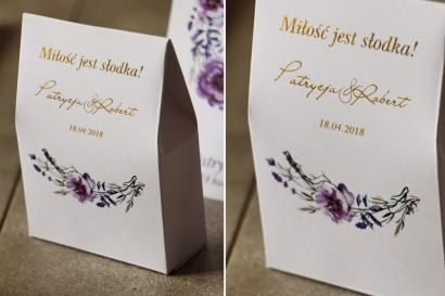 Pudełeczko na cukierki, podziękowania dla Gości weselnych - Cykade nr 9 ze złoceniem - Delikatne fioletowe kwiaty
