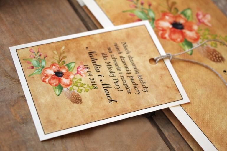 Kwiatowe, boho Ślubne zawieszki na butelki weselne w stylistyce rustykalnej, kolor pomarańczowy - Karmelowe nr 4