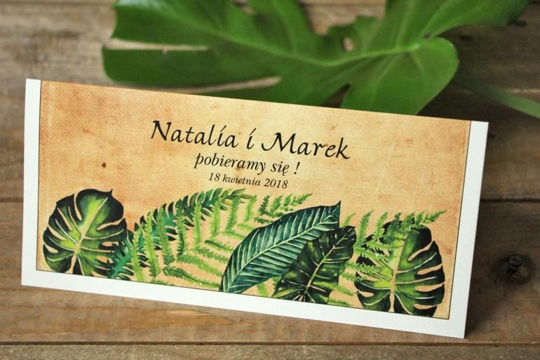 Zielone zaproszenia ślubne rustykalne z paprociami i zielonymi liśćmi w stylu greenery - Karmelowe nr 5