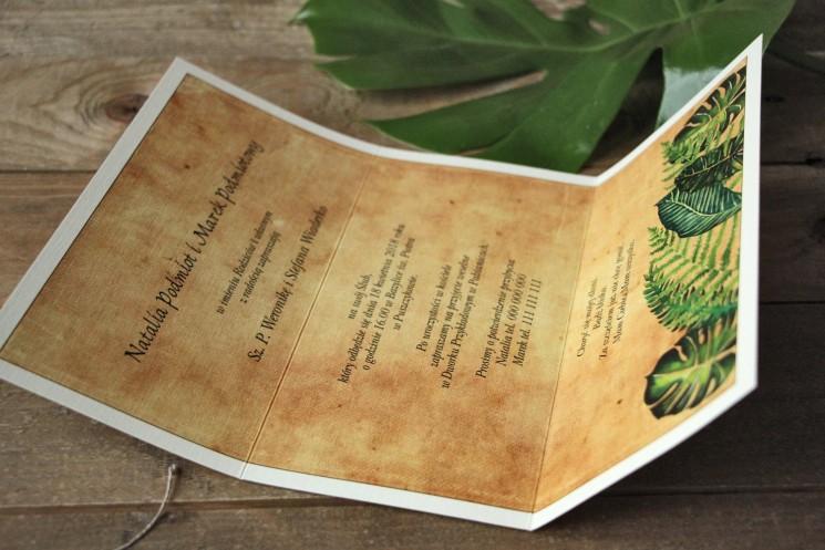 Zielone zaproszenia ślubne rustykalne z paprociami i zielonymi liśćmi w stylu greenery - Karmelowe nr 5 - wnętrze