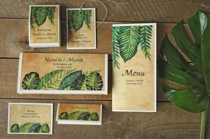 Zielone zaproszenia ślubne rustykalne z paprociami i zielonymi liśćmi w stylu greenery - Karmelowe nr 5 - zestaw próbny