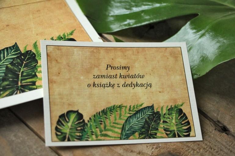 Zielony, rustykalny Bilecik do zaproszenia ślubnego z paprociami i zielonymi liśćmi w stylu greenery - Karmelowe nr 5