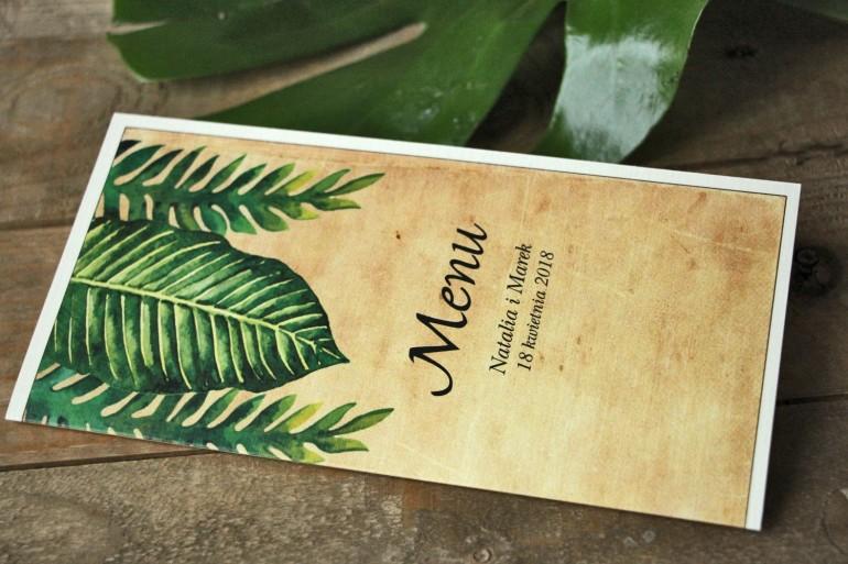 Zielone Menu Ślubne, rustykalne z paprociami i zielonymi liśćmi w stylu greenery - Karmelowe nr 5
